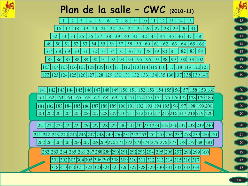 Plan de la salle Cercle Wallon Couillet